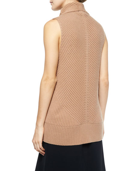 20805f0983992 Vince Ribbed Sleeveless Turtleneck Sweater