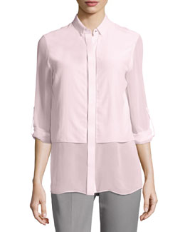 Ava Long-Sleeve Chiffon Blouse