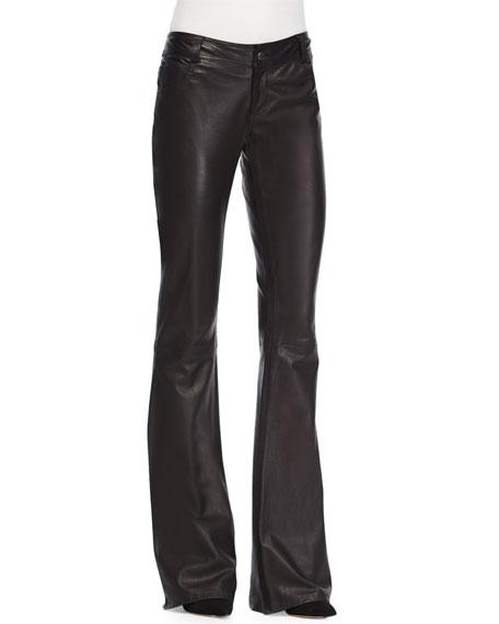 Leather Flare-Leg Pants, Black