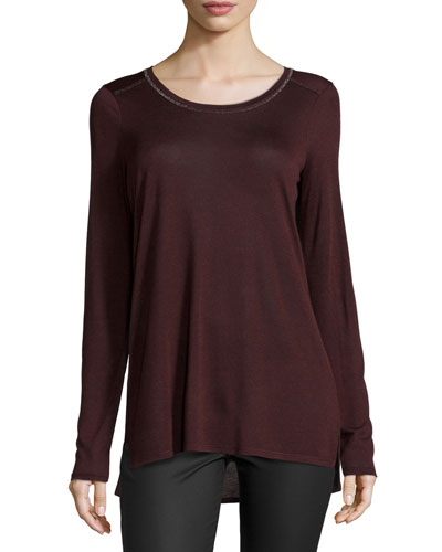 Long-Sleeve Round-Neck Top