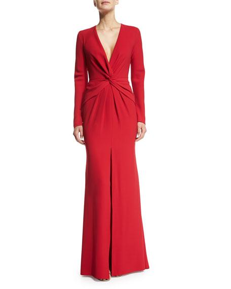 d7e147980d3 Carmen Marc Valvo Long-Sleeve Front-Twist Gown