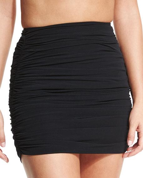 Shirred Swim Mini Skirt, Black