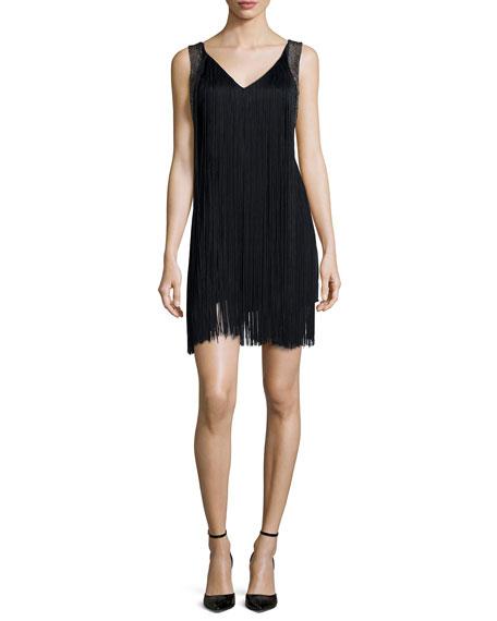 Sleeveless Fringe Flapper Dress, Black