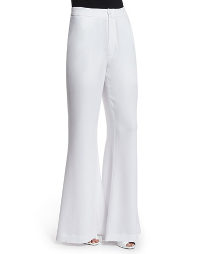 Pleated High-Waist Flare Trousers, White