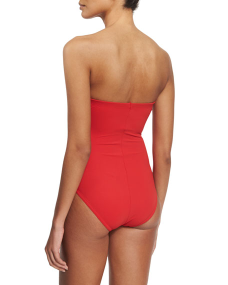 Fringe-Front Bandeau One-Piece Swimsuit