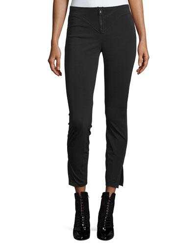 Scuba-Knit Ankle Pants, Black