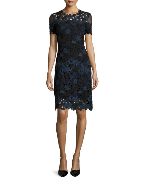 Image 1 of 1: Ophelia Short-Sleeve Lace Sheath Dress