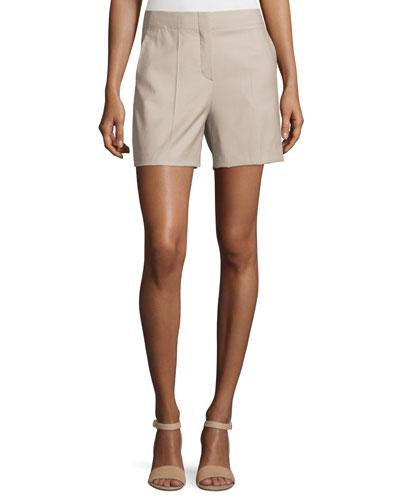 Masibeth Continuous Wool-Blend Shorts, Gray Khaki