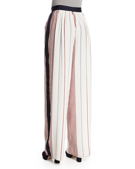 Rory Striped Wide-Leg Pants, Multi Colors