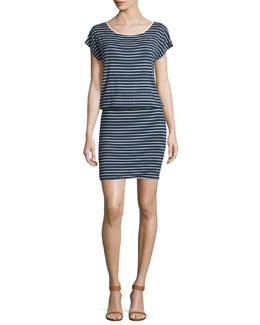 Kyler Striped Jersey Blouson Dress