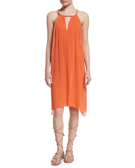 Katey Sleeveless Chiffon Midi Dress, Orange