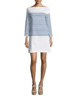 Long-Sleeve Striped Mini Dress, Blue