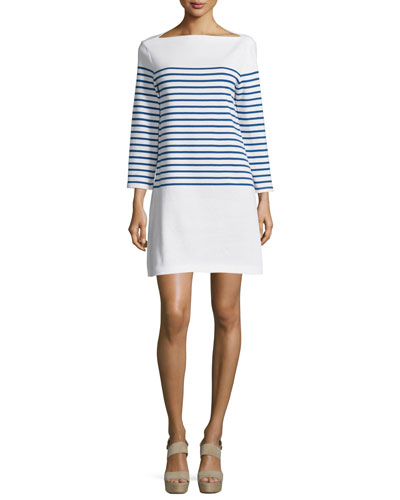 Long-Sleeve Striped Mini Dress, Blue