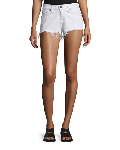 rag & bone/JEAN Cutoff Denim Shorts, White Freeport