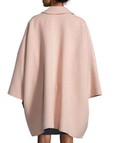 Oversized Open-Front Wool-Blend Coat, Dusty Pink