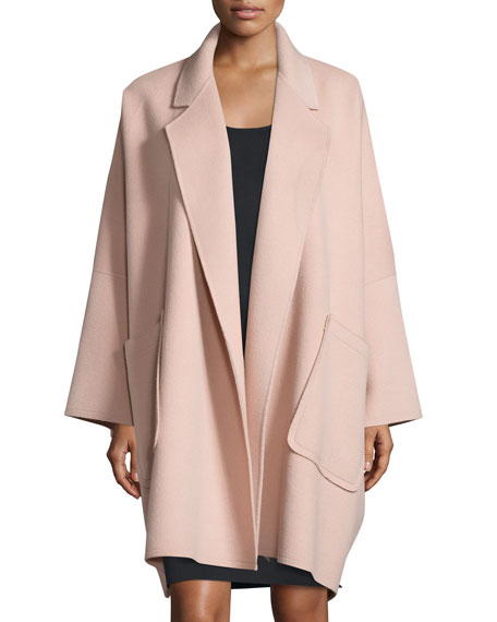 Oversized Open-Front Wool-Blend Coat, Dusty Pink