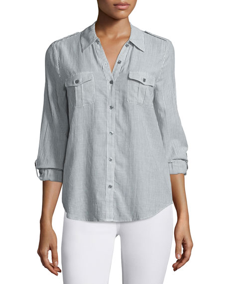 Dumas Striped Button-Down Top