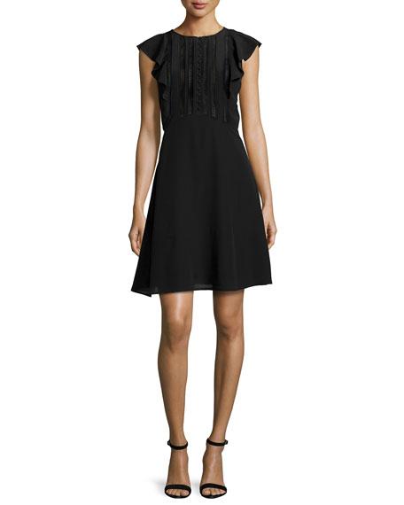 Deorsa Mosaic Lace-Inset Dress, Black
