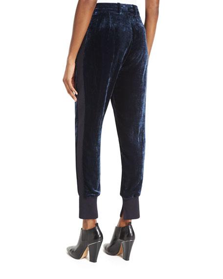 Bonded Velvet Track Pants, Sapphire