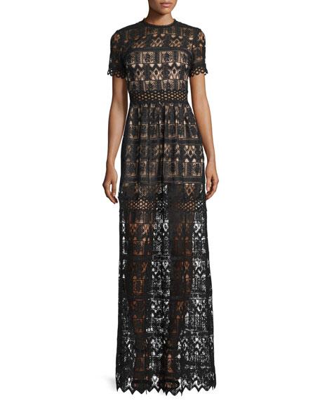 Phillipa Short-Sleeve Lace Maxi Dress, Black