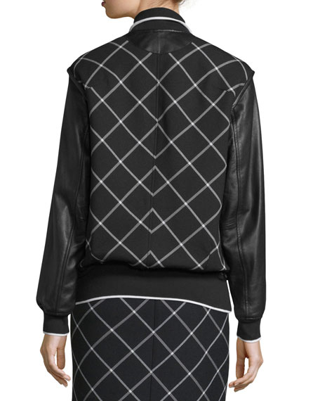 Edith Windowpane Varsity Jacket, Black/White
