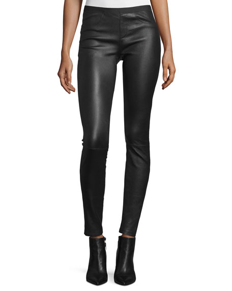 Leather Ankle Leggings, Black