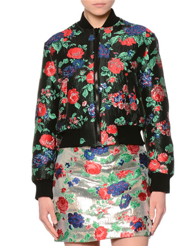 Cropped Floral Brocade Bomber Jacket, Red/Black