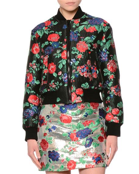 Cropped Floral Brocade Bomber Jacket, Red/Black