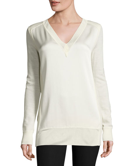 Vivienne Satin V-Neck Tunic, White