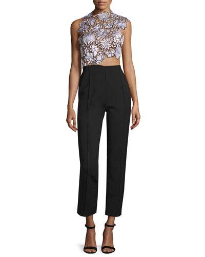 Lilac Floral-Lace Trouser-Combo Jumpsuit