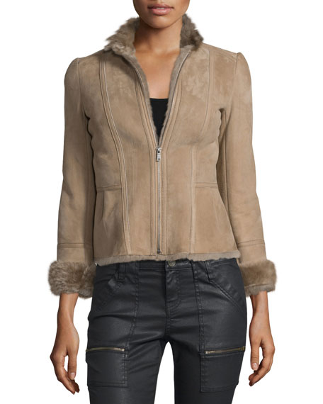 Amica Shearling-Lined Suede Jacket