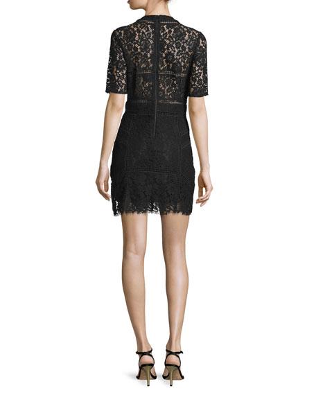 Sage Seamed Lace Mini Dress, Black