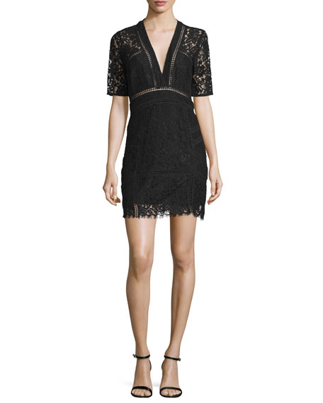 Sage Seamed Lace Mini Dress, Black
