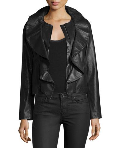Lightweight Ruffle-Collar Leather Jacket, Black