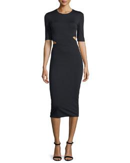 Lux Ponte Side-Slit Midi Dress, Black