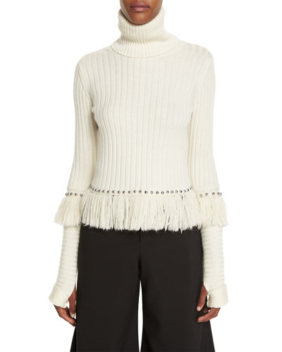 Studded & Fringed Turtleneck Sweater