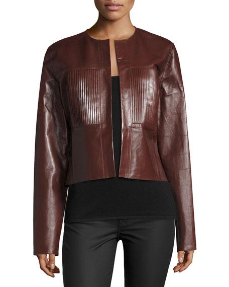 1b6aabd4607 Joseph Nim Collarless Coated Leather Jacket, Mahogany