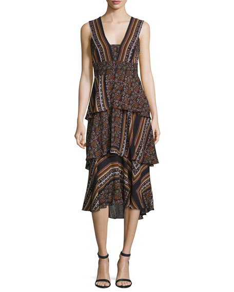 Hayley Sleeveless Tiered Multipattern Midi Dress, Brown/Multicolor