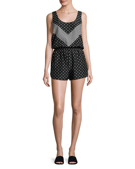 Chevron & Polka Dot All-in-One Romper Coverup, Black/White