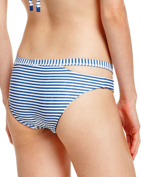 Tropic Coast Split-Band Hipster Swim Bottom, White