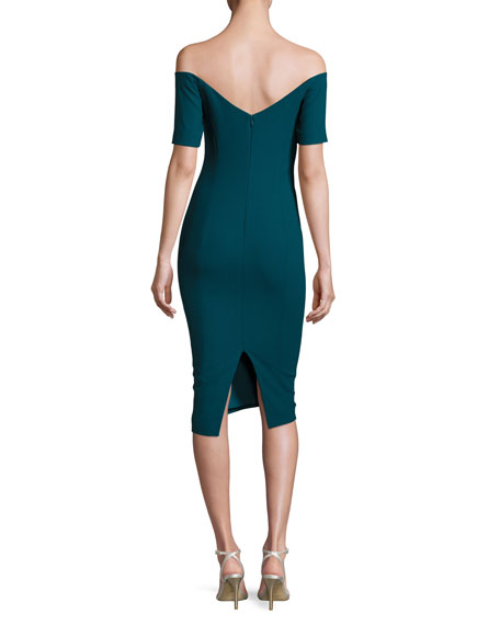 Birch Off-the-Shoulder Sheath Dress, Green Topaz