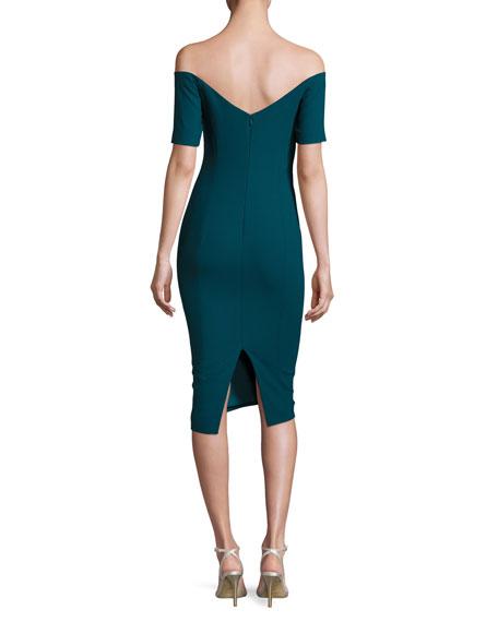 Birch Off-the-Shoulder Sheath Dress, Green Topaz