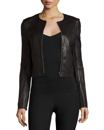 Helen Fitted Cropped Leather Jacket  Black