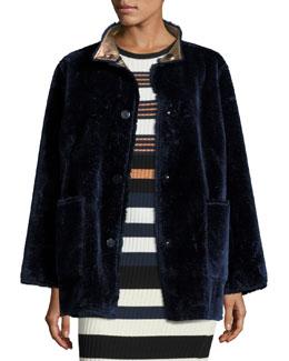 Culver Reversible Faux-Fur Coat, Deep Navy/M