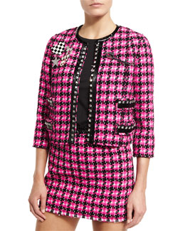 Embellished Tweed Jacket, Pink