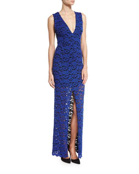 Kahlo V-Neck Lace Column Dress