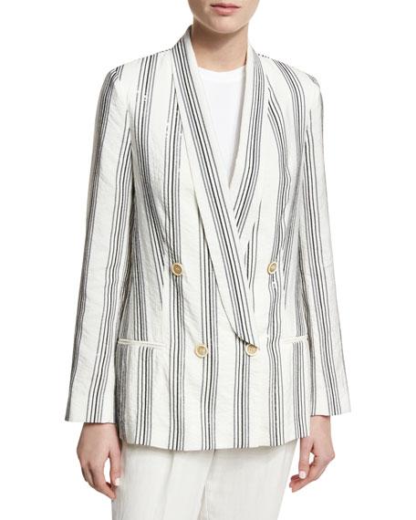 Micro Paillette Striped Blazer, White