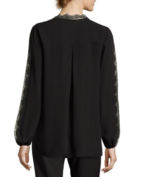 Morgana Lace-Trim Yoked Silk Blouse