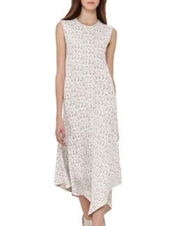 Sleeveless Jacquard A-Line Dress, Blanco/Nude