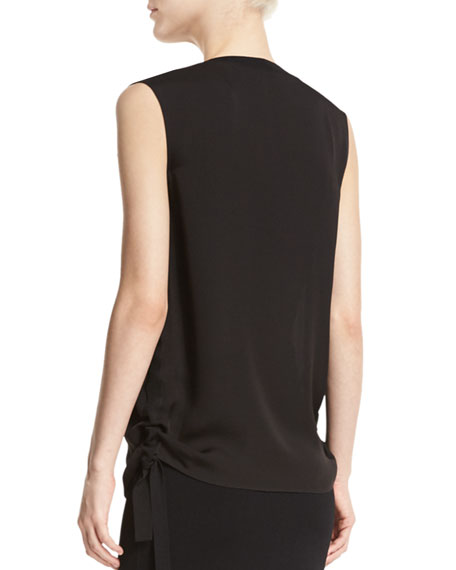 Ruched Tie-Side Silk Tank